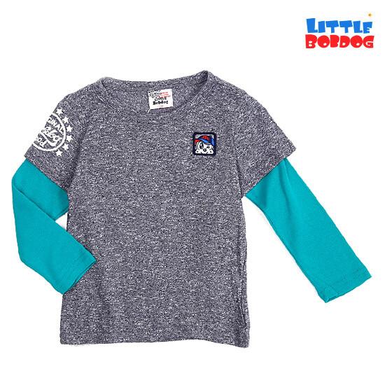 다크그레이 소매배색 레터링 티셔츠-B141MTS16_DG