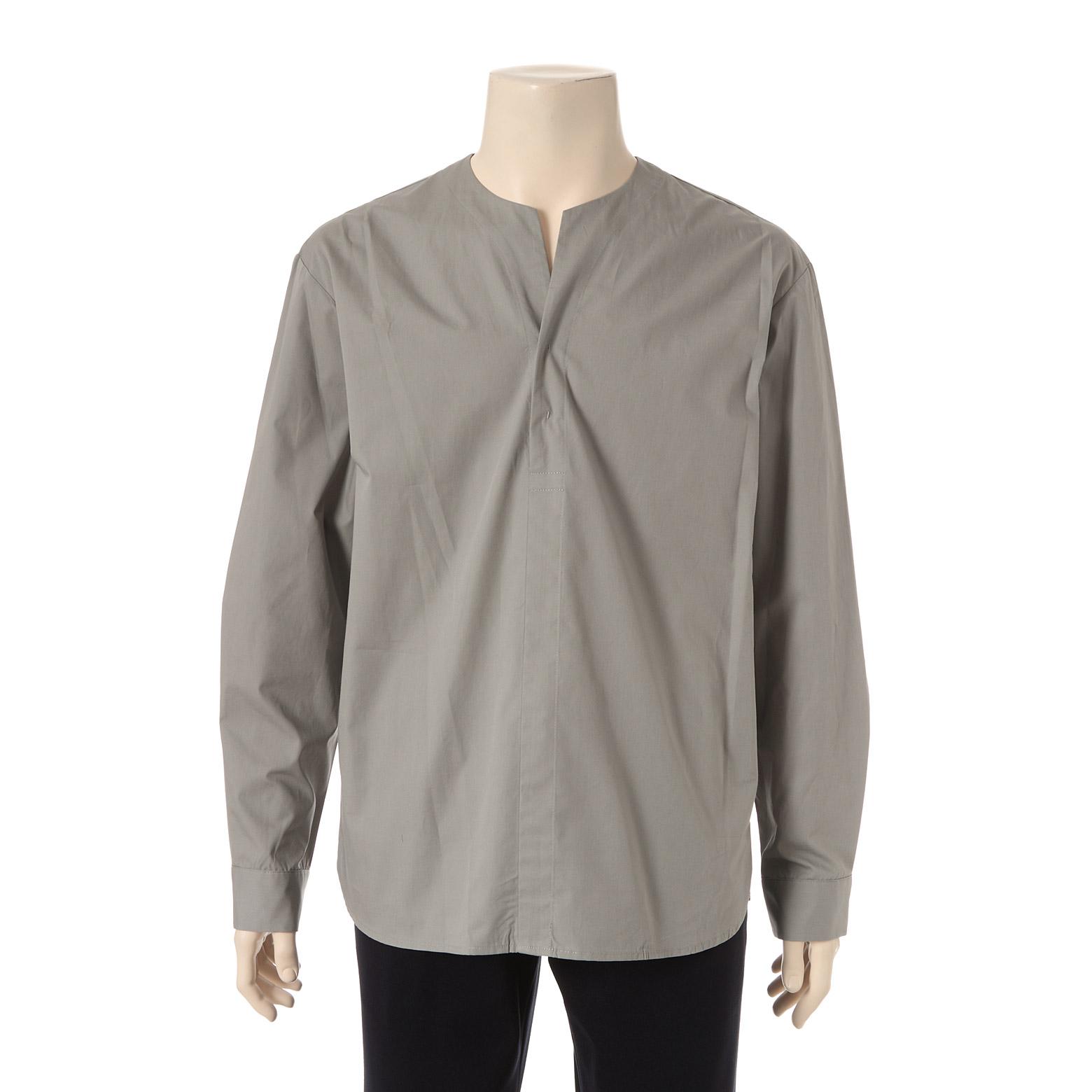 카키 세미오픈 헨리넥 셔츠 E45SCD10-51