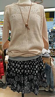 여성 펀칭자수 디테일 풀오버 스웨터(T162MSW138W)