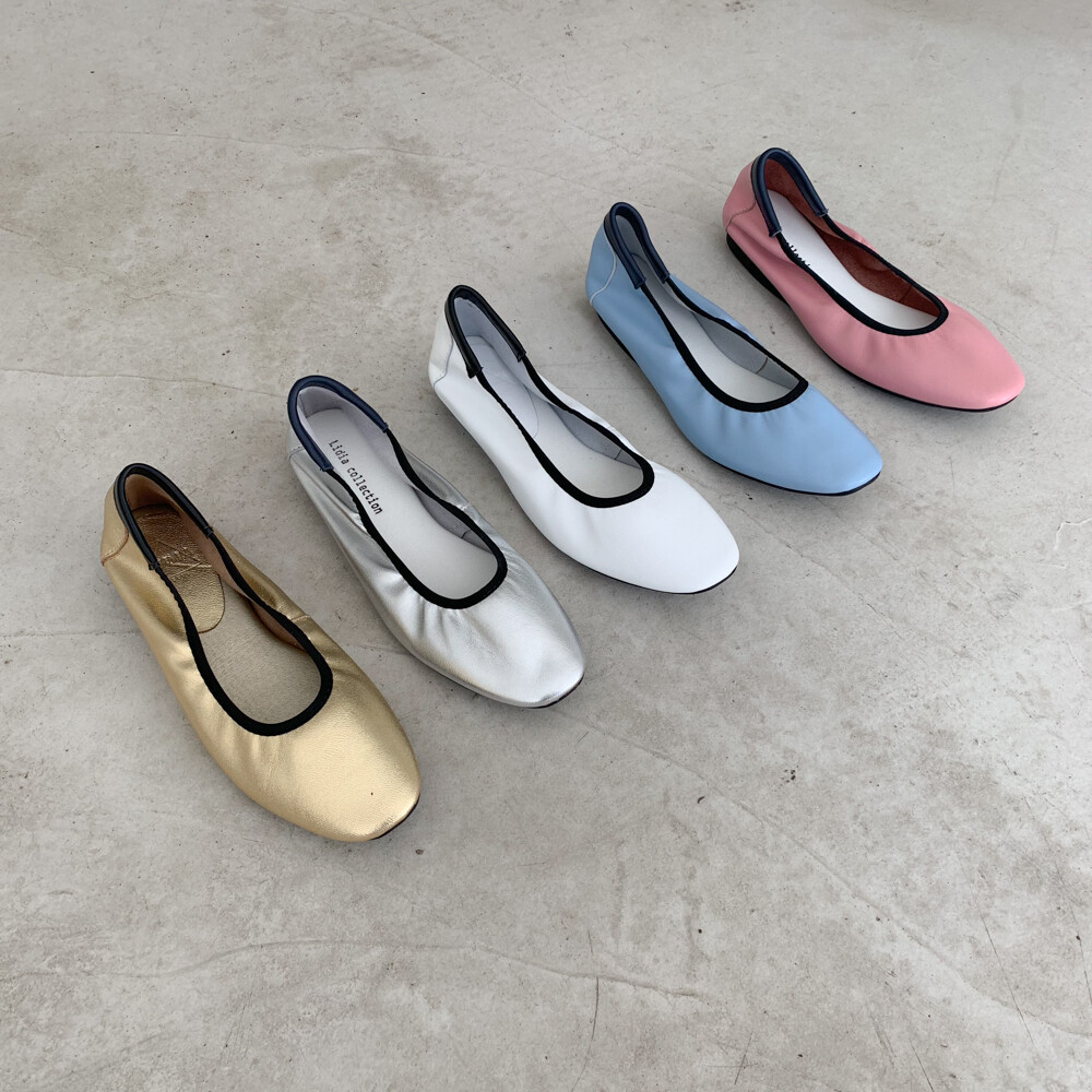 라인 솔리드 천연가죽 플랫 1cm (WHITE,GOLD,SILVER,BLUE,PINK,BLACK)